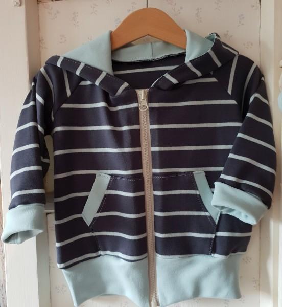 Sweat-Shirt Jacke aus Bio Jersey dunkelblau / hellblau