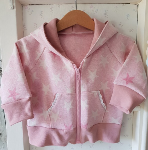 Sweat-Shirt Jacke aus Jacquard Stoff rosa/weiß Stern