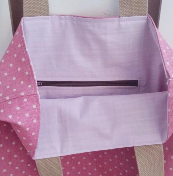 Einkaufstasche aus Canvas- Stoff und mit Lederboden