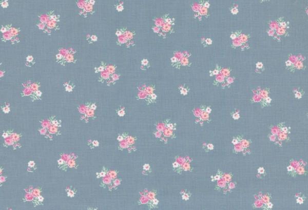 010507044 - Druckstoff Prinzessin matt-blau Blumen