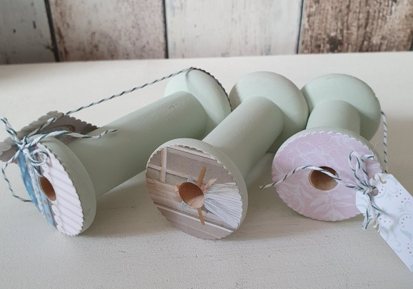 Garn- / Bänderrollen Set aus Holz