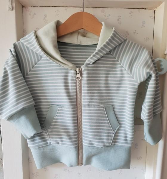 Sweat-Shirt Jacke aus Bio Jersey hellblau/weiß