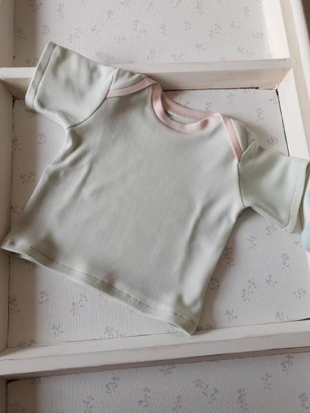 Baby Shirt aus Bio Jersey kurz Arm mint rosa
