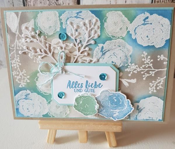 """Karte """" Alles liebe und Gute """" Embossing Eisblüten"""