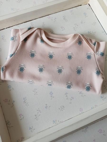 Baby Shirt aus Bio Jersey rosa Mäuschen