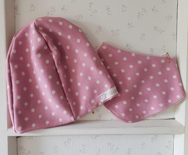 Mütze und Halstuch im Set aus Jaquard Stoff rosa/weiß Punkte