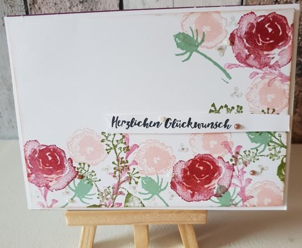 """Karte """" Herzlichen Glückwunsch """" Eisblüten Glanzfarbe"""