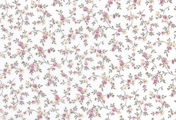010507178 - Druckstoff Gent weiß-bunt Rosen