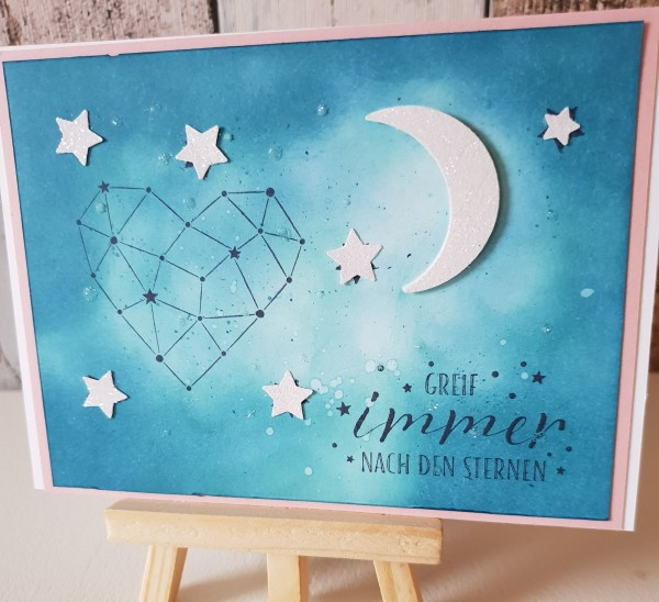 "Aquarell Karte "" Sternenhimmel"" greif immer nach den Sternen"
